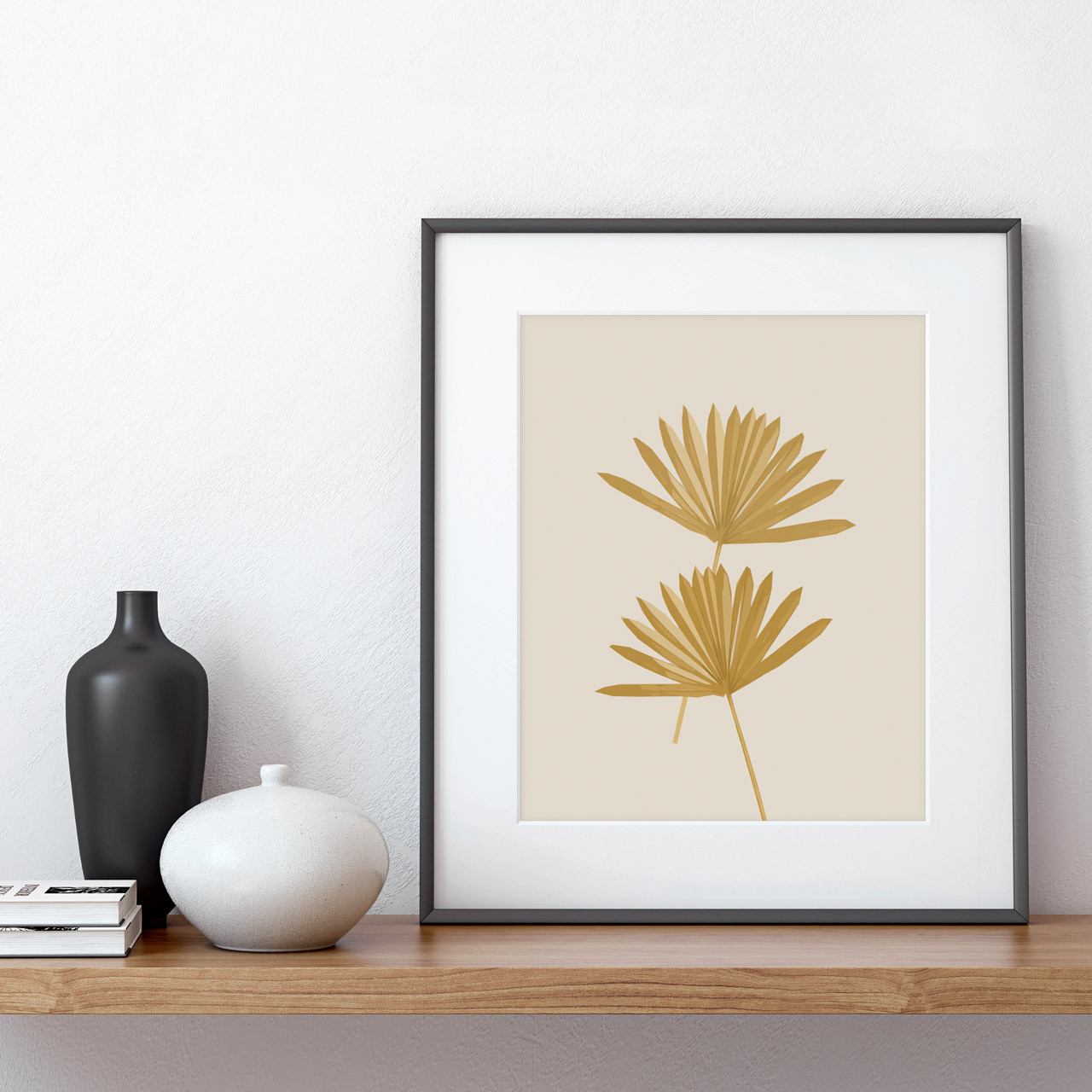 'Sun Palm III' in Ochre Abstract Palm Leaf Art Print from The Printed Home