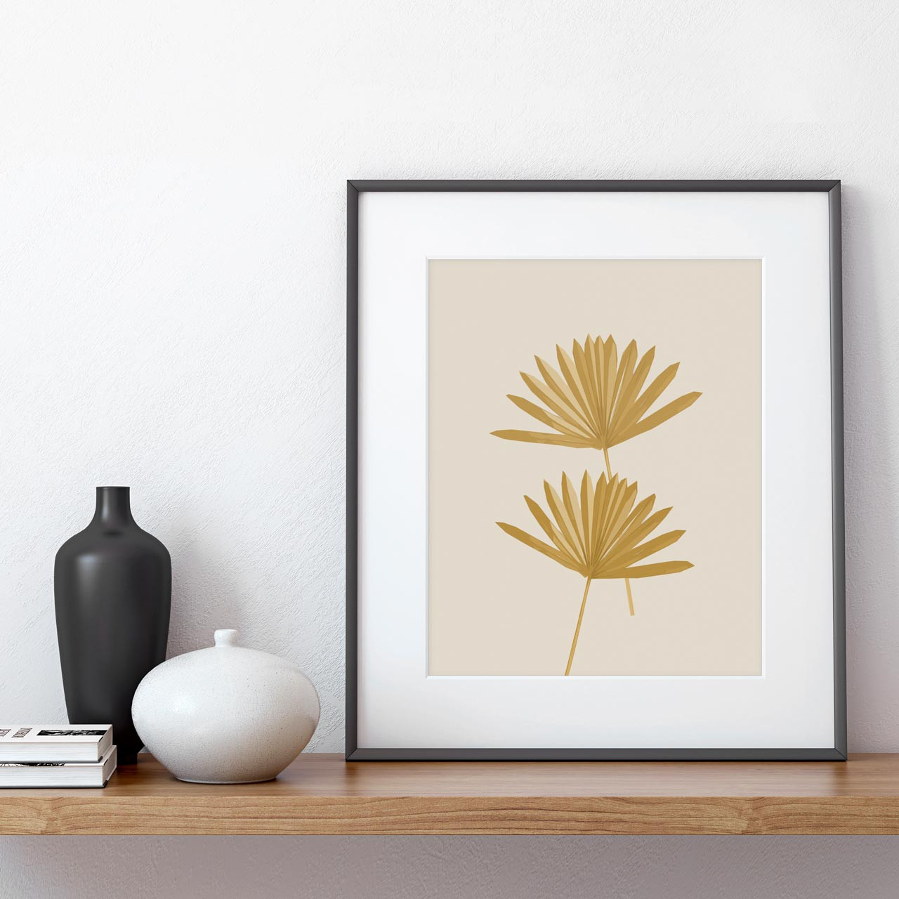 'Sun Palm II' in Ochre Abstract Leaf Art Print from The Printed Home