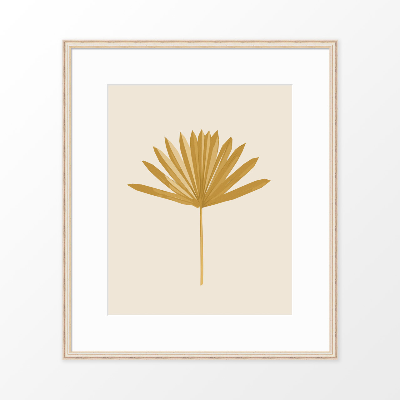 'Sun Palm I' in Ochre Abstract Leaf Art Print from The Printed Home