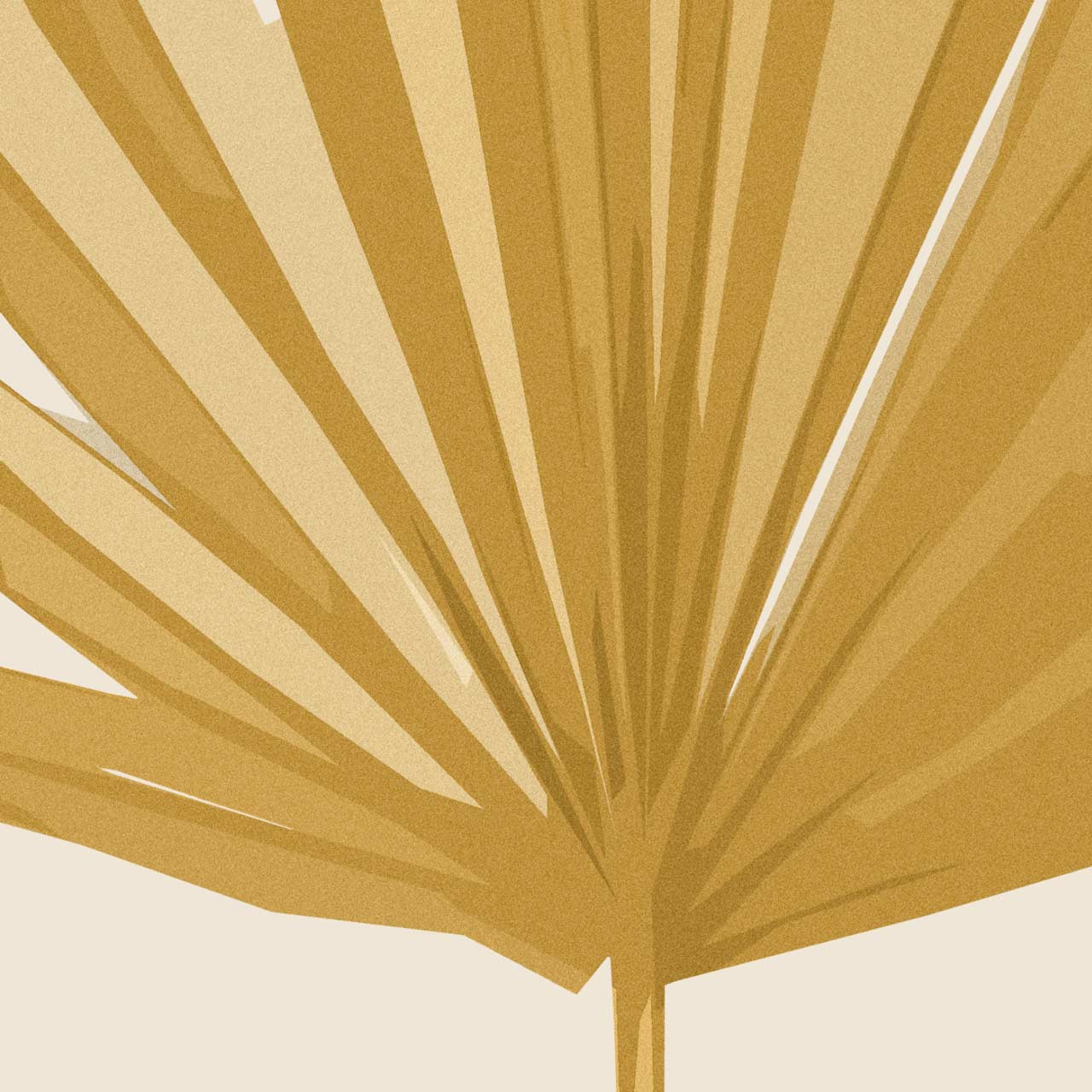 Close-up of 'Sun Palm I' Abstract Leaf Art Print in Ochre from The Printed Home (Printable)
