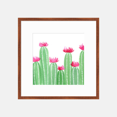 'Happy Cacti' Watercolor Art Print