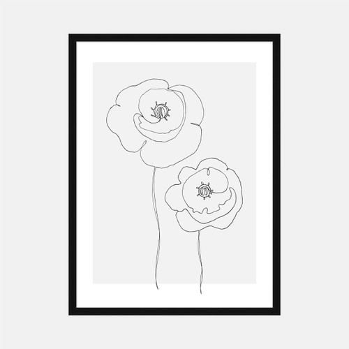 'Single Line Poppies' on Gray, Original Art Print from The Printed Home