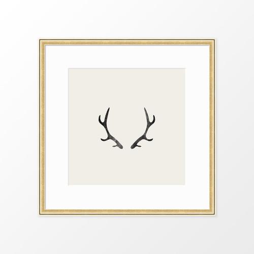 'Antlers' Block-printed Art Print from The Printed Home (Printable)