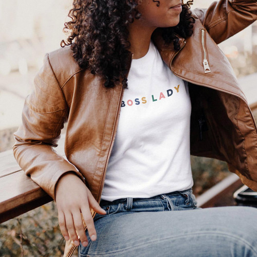 BOSS LADY Cotton T-Shirt (Color on White) from The Printed Home
