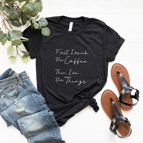 'Coffee & Things' Vintage T-Shirt (White on Charcoal Black) from The Printed Home