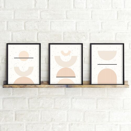 'Shapes + Flecks I' Minimalist Geometric Art Print from The Printed Home