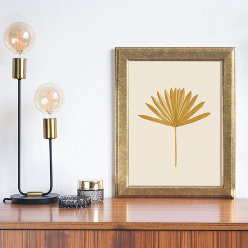 'Sun Palm I' Abstract Leaf Art Print in Ochre from The Printed Home (Printable)