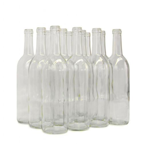 750ml Clear Wine Bordeaux Flat Bottom Bottles 12/Case