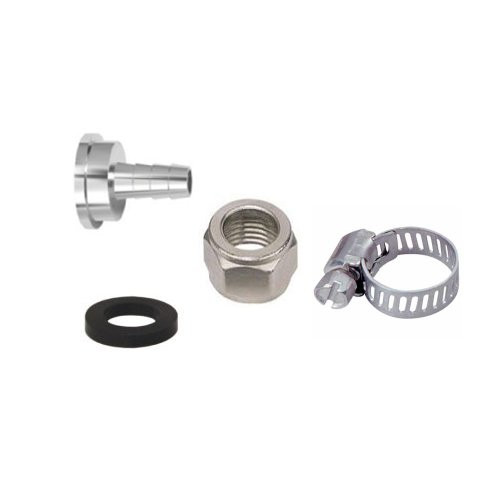 Includes all four items needed to connect a beer line to your draft beer system. Includes 1 of each for 1 connection: Beer Nut, Washer, Tail piece to connect to 3/16'' ID tube and Clamp.