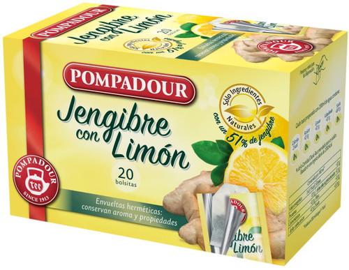 Té Infusion Jengibre con Limón, 20 bolsitas - Pompadour