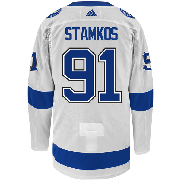 meet 1491e 60de1 #91 STEVEN STAMKOS adidas ADIZERO Lightning Jersey with Authentic Lettering