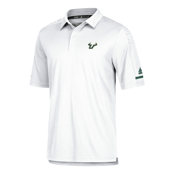 Men's USF Bulls Adidas Official Sideline Iconic White Polo
