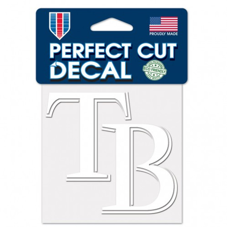 """Tampa Bay Rays 4x4"""" Perfect Cut White Decal"""