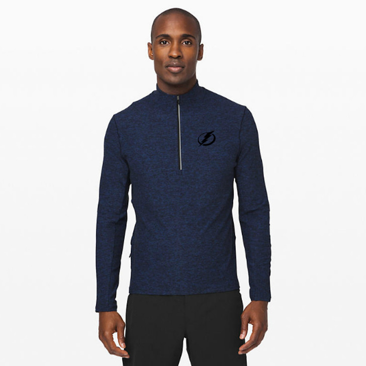 Men's Tampa Bay Lightning lululemon Heathered Moroccan Blue/Black Surge Warm 1/2 Zip