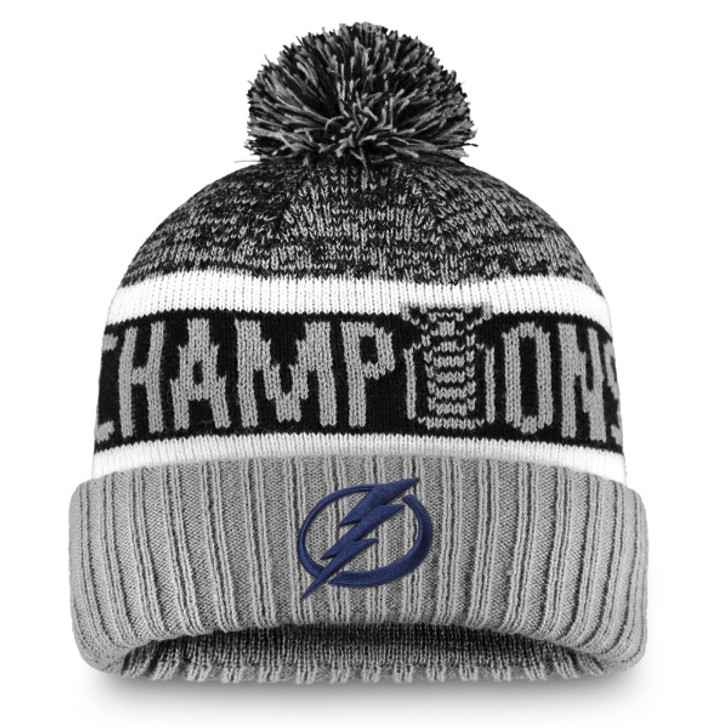 Tampa Bay Lightning 2020 Stanley Cup Champions Cuffed Pom Knit