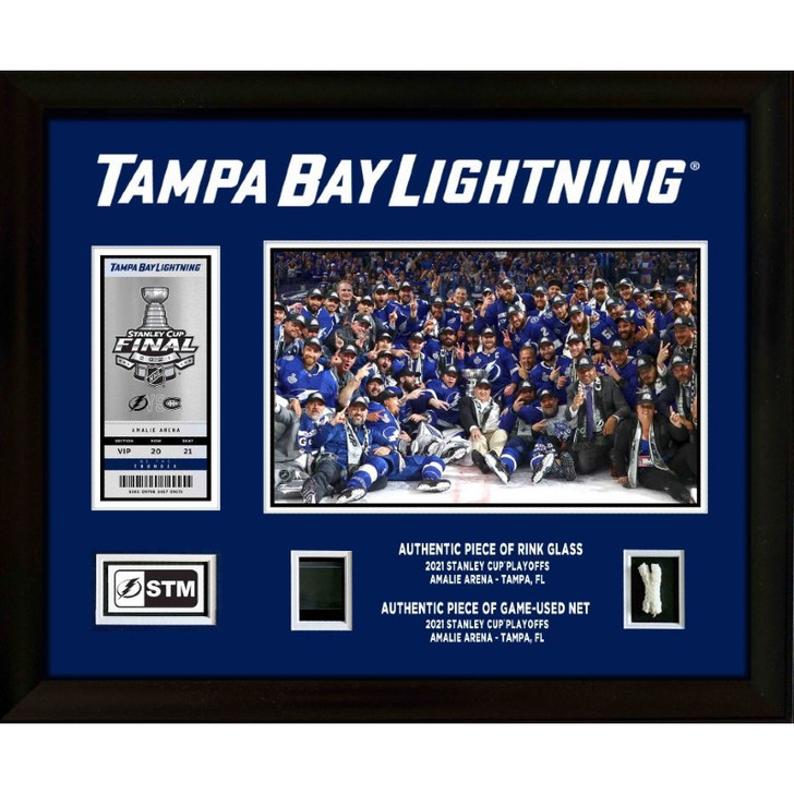 STM Custom Tampa Bay Lightning 2021 Stanley Champions Commemorative Ticket Frame with Game-used Items