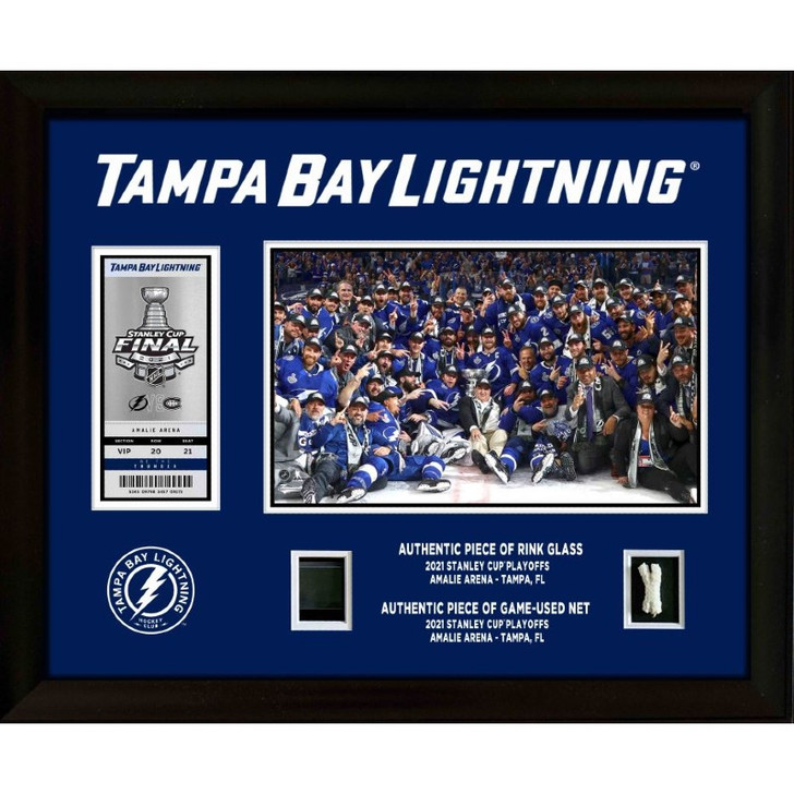 Custom Tampa Bay Lightning 2021 Stanley Champions Commemorative Ticket Frame with Game-used Items