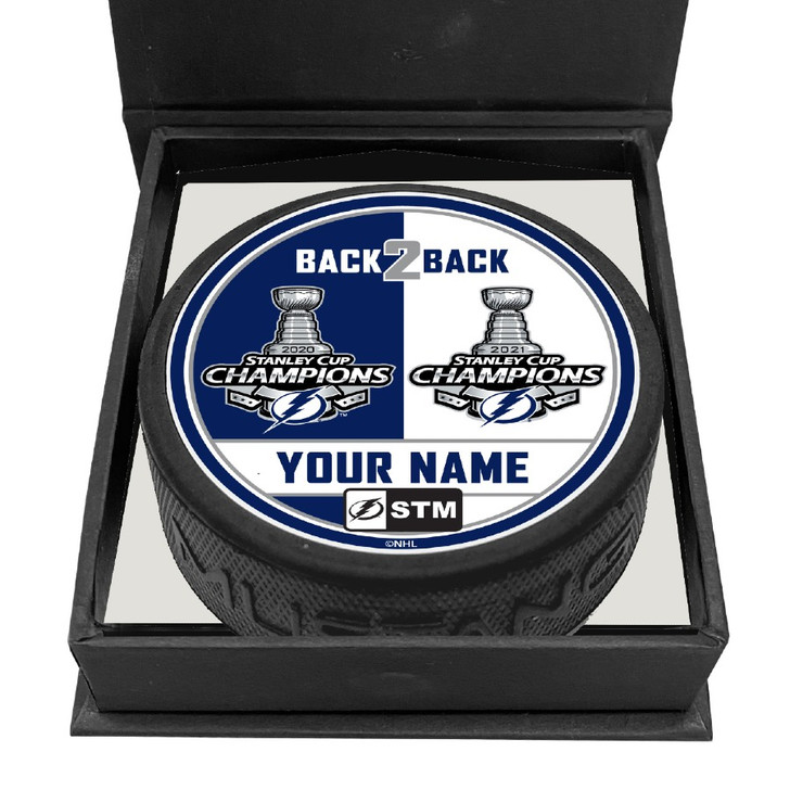 STM Personalized Tampa Bay Lightning Back 2 Back Stanley Cup Champions 3-D Engraved Puck with Box