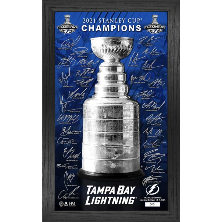 """Tampa Bay Lightning 2021 Stanley Cup Champions 12"""" x 20"""" Framed Stanley Cup with Signatures"""