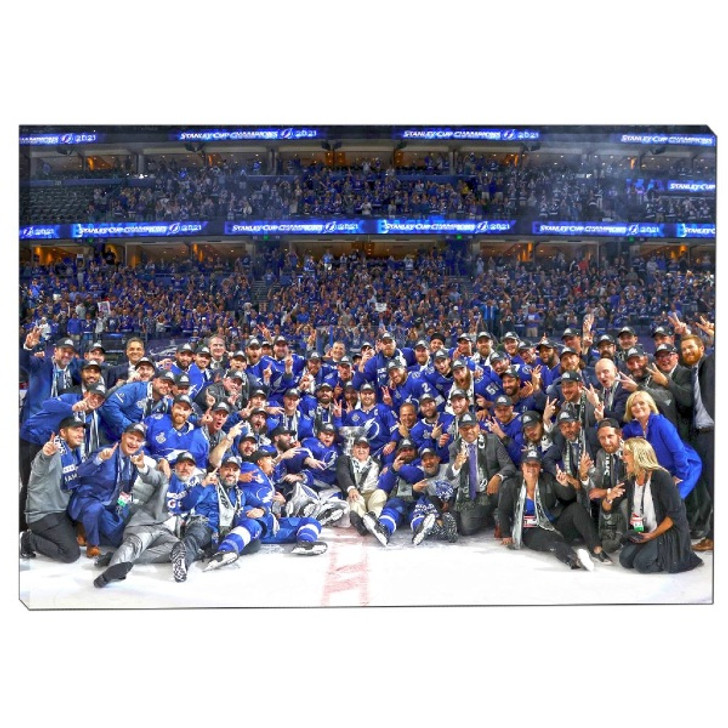 """Tampa Bay Lightning 2021 Stanley Cup Champions 25"""" x 35"""" Team Photo Canvas"""