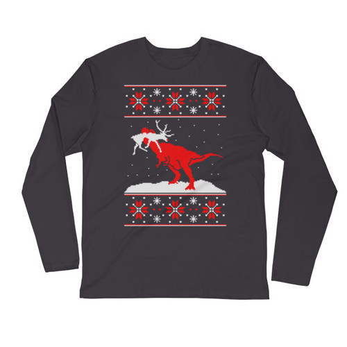 T-Rexmas Long Sleeve Fitted Crew