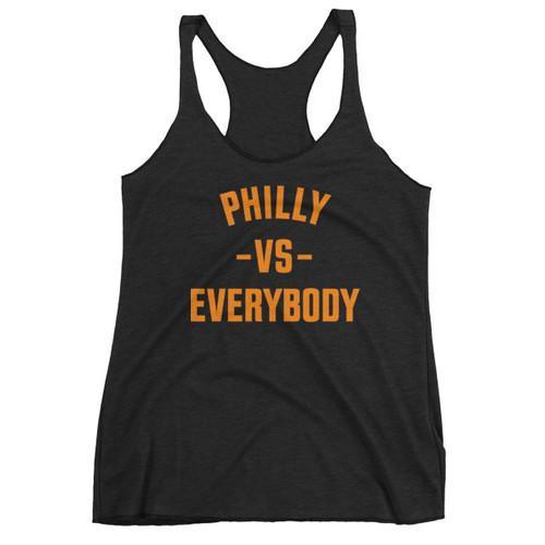 Philly Vs Everybody Ladies' Racerback Triblend Tank (Orange & Black)