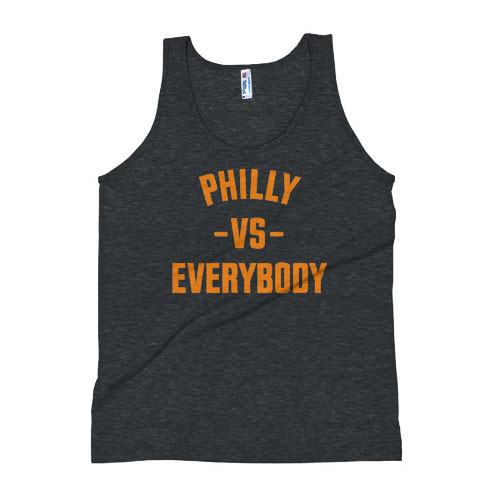 Philly Vs Everybody Unisex Triblend Tank Top (Orange & Black)