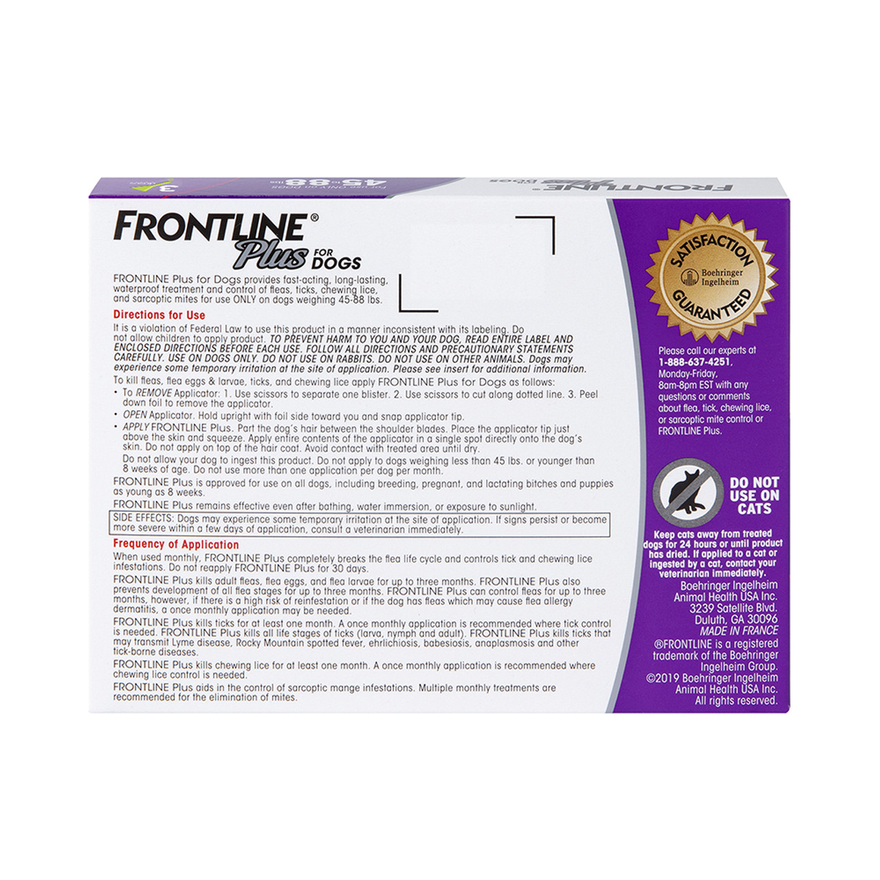 Frontline Plus Flea & Tick Treatment for Dogs & Puppies (45-88 lbs.) - Back