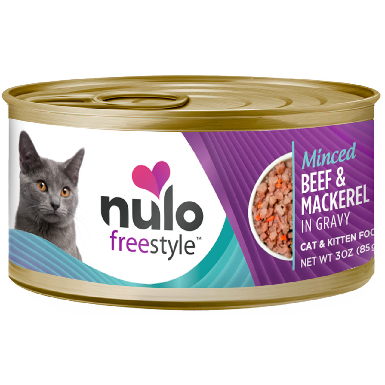 Nulo Freestyle Cat & Kitten Minced Beef & Mackerel Recipe In Gravy Canned Cat Food
