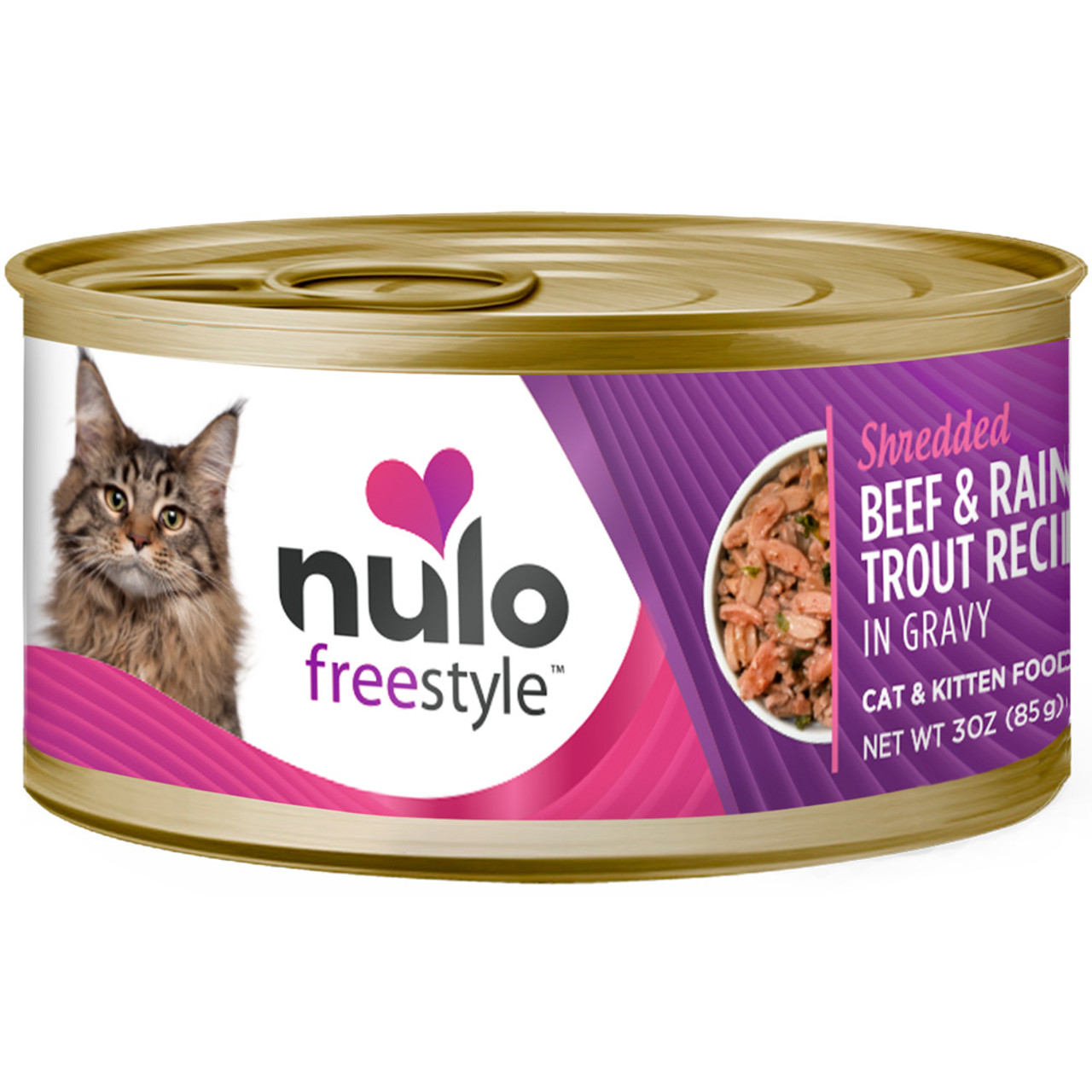 Nulo Freestyle Cat & Kitten Shredded Beef & Rainbow Trout Recipe In Gravy Canned Cat Food