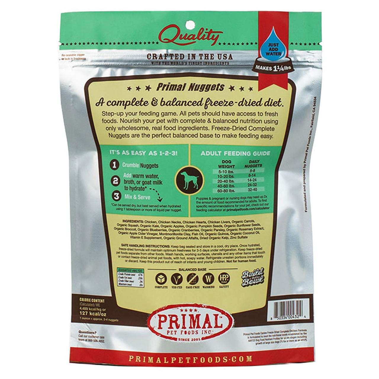 Primal Chicken Formula Raw Freeze-Dried Dog Food - Back