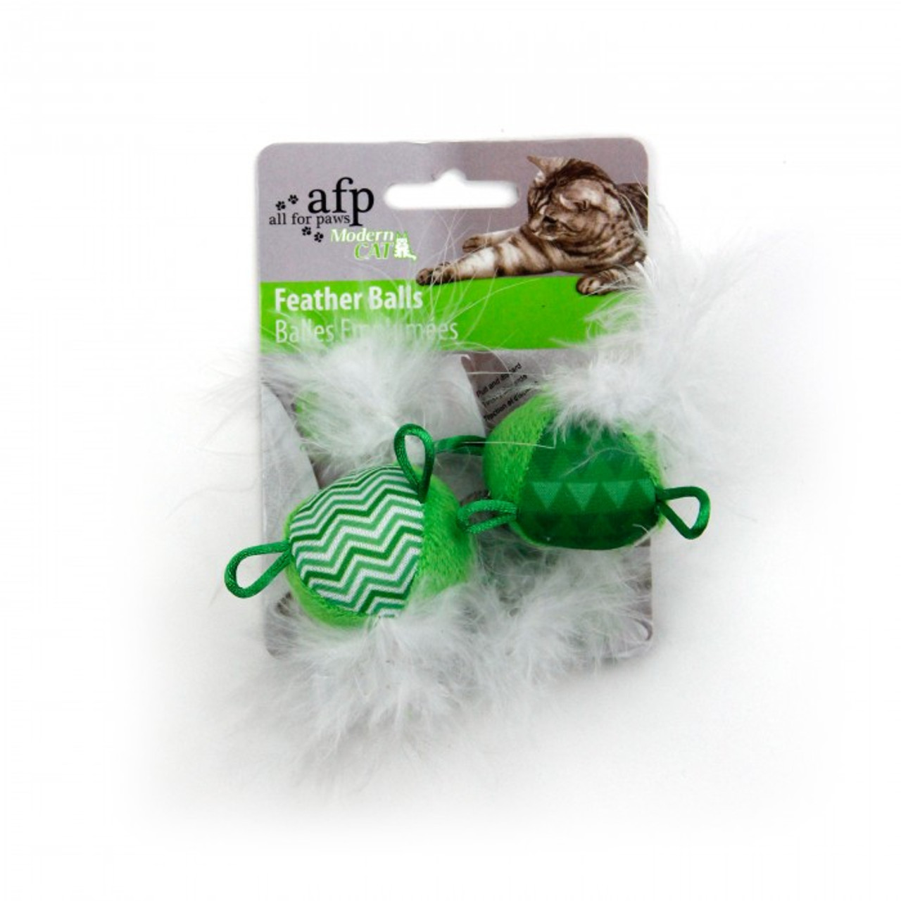 All for Paws Modern Cat Feather Balls - Green