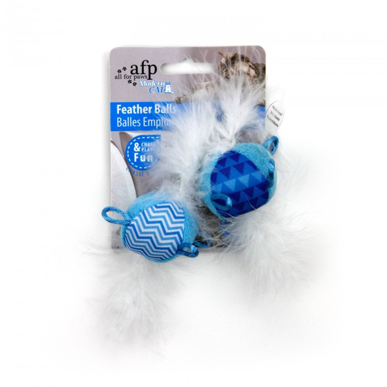 All for Paws Modern Cat Feather Balls - Blue