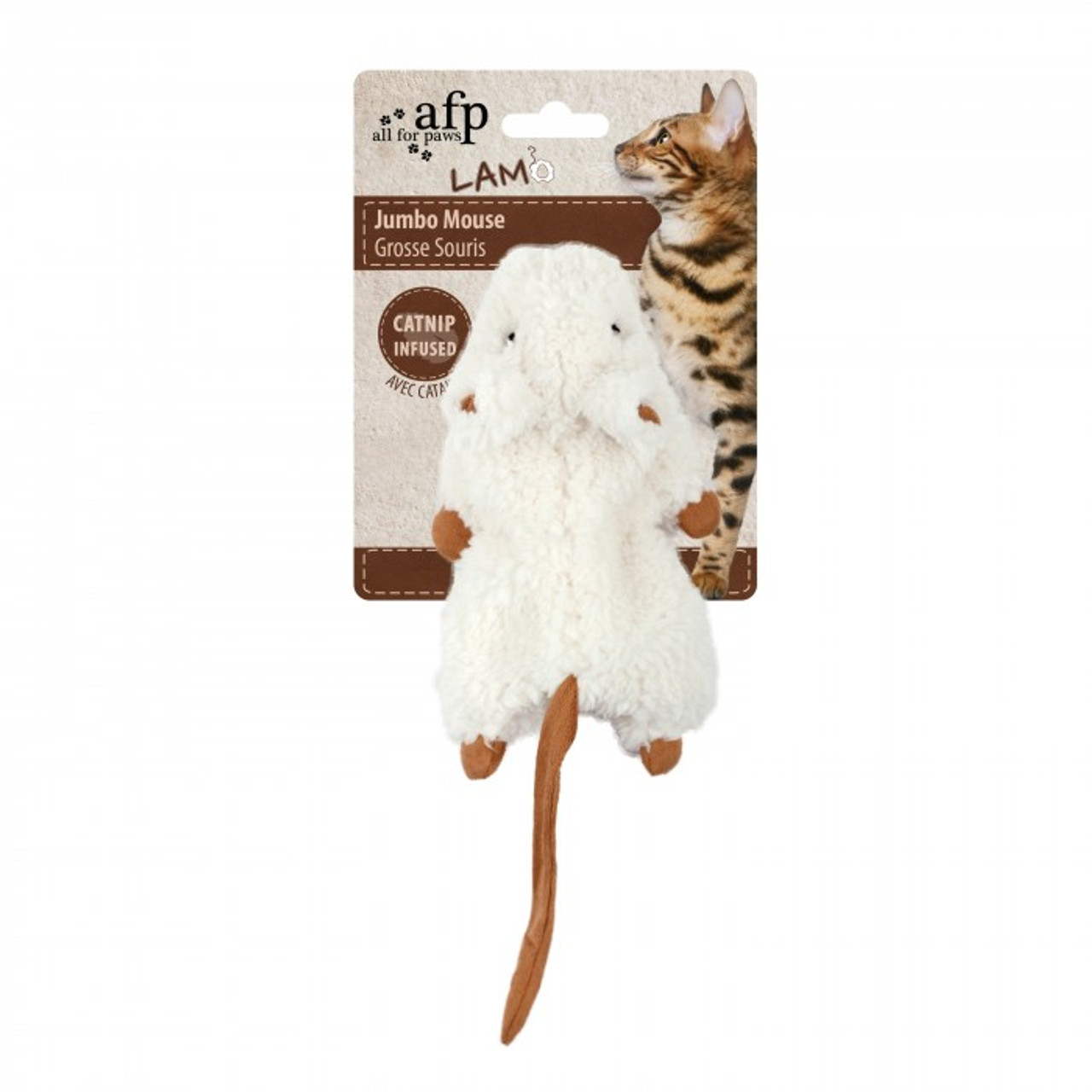 All for Paws Jumbo Crinkle Catnip Rodent - White
