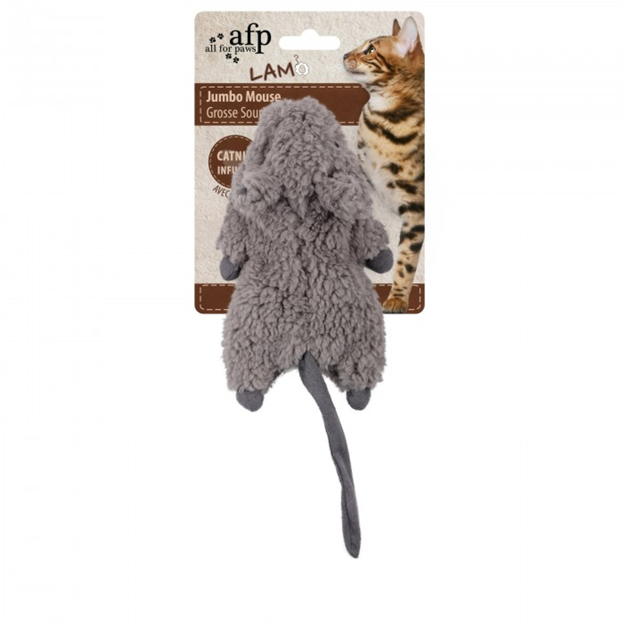 All for Paws Jumbo Crinkle Catnip Rodent - Gray