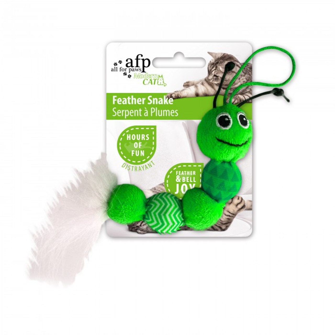 All for Paws Modern Cat Feather Snake Toy - Green