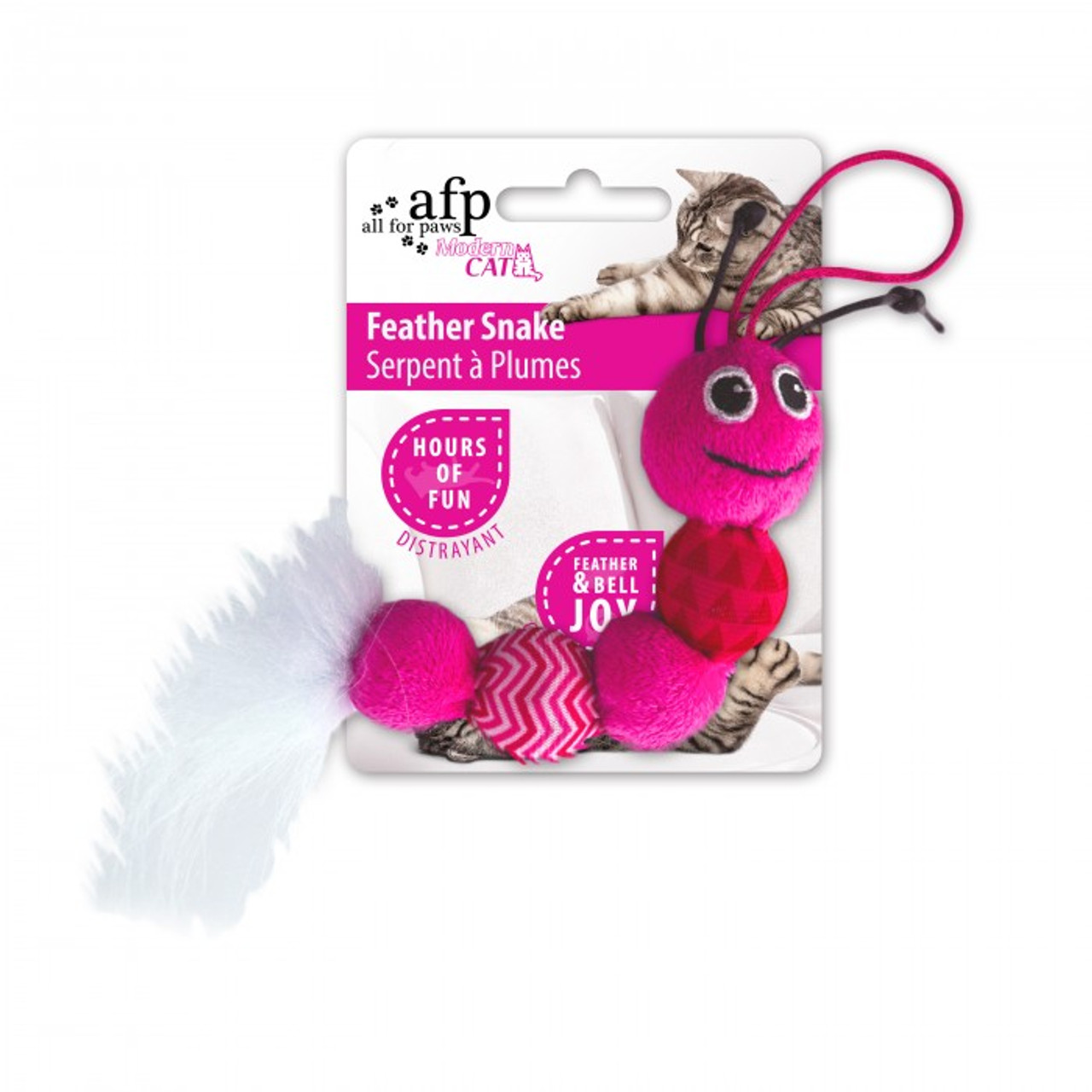 All for Paws Modern Cat Feather Snake Toy - Pink