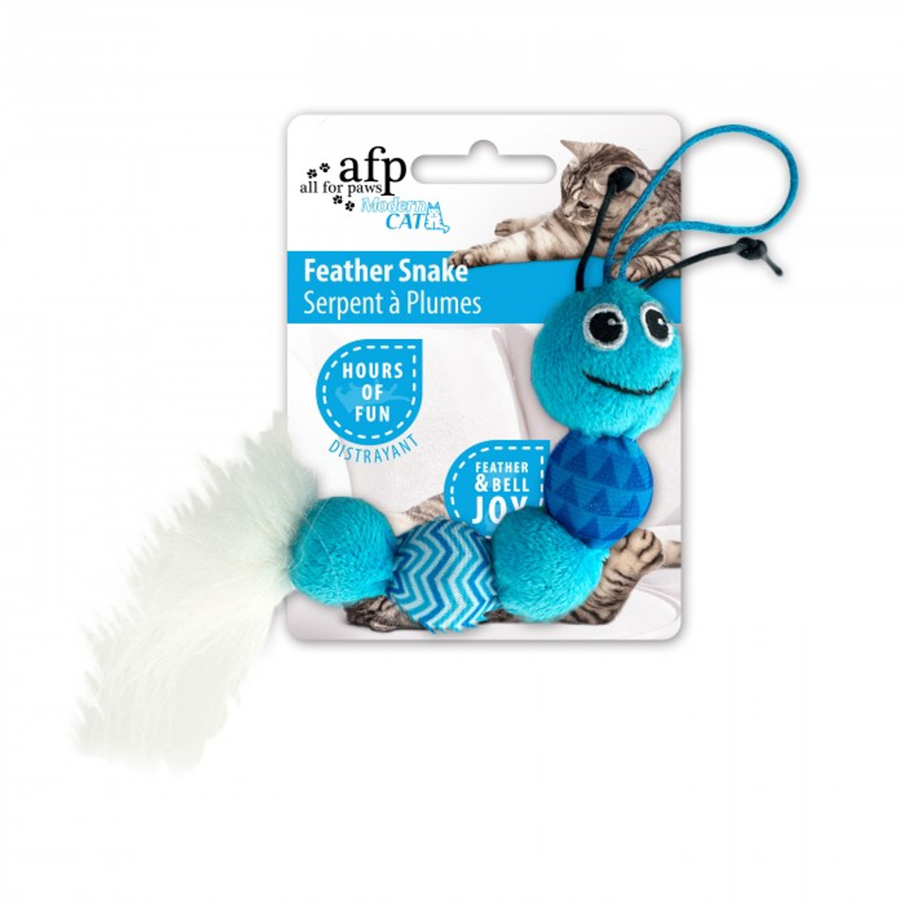 All for Paws Modern Cat Feather Snake Toy - Blue