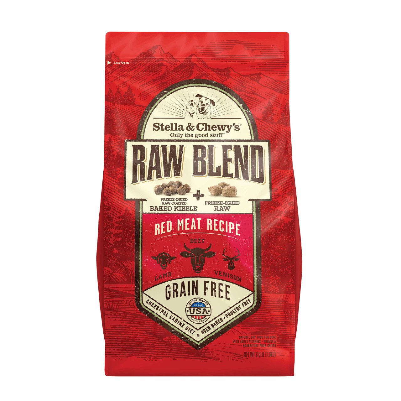 Stella & Chewy's Raw Blend Red Meat Recipe, Raw Coated Baked Kibble + Freeze-Dried Meal Mixers Dry Dog Food