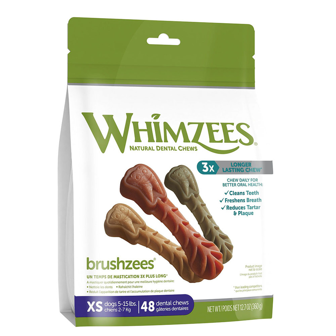 Whimzees Brushzees Dog Dental Chews - Front