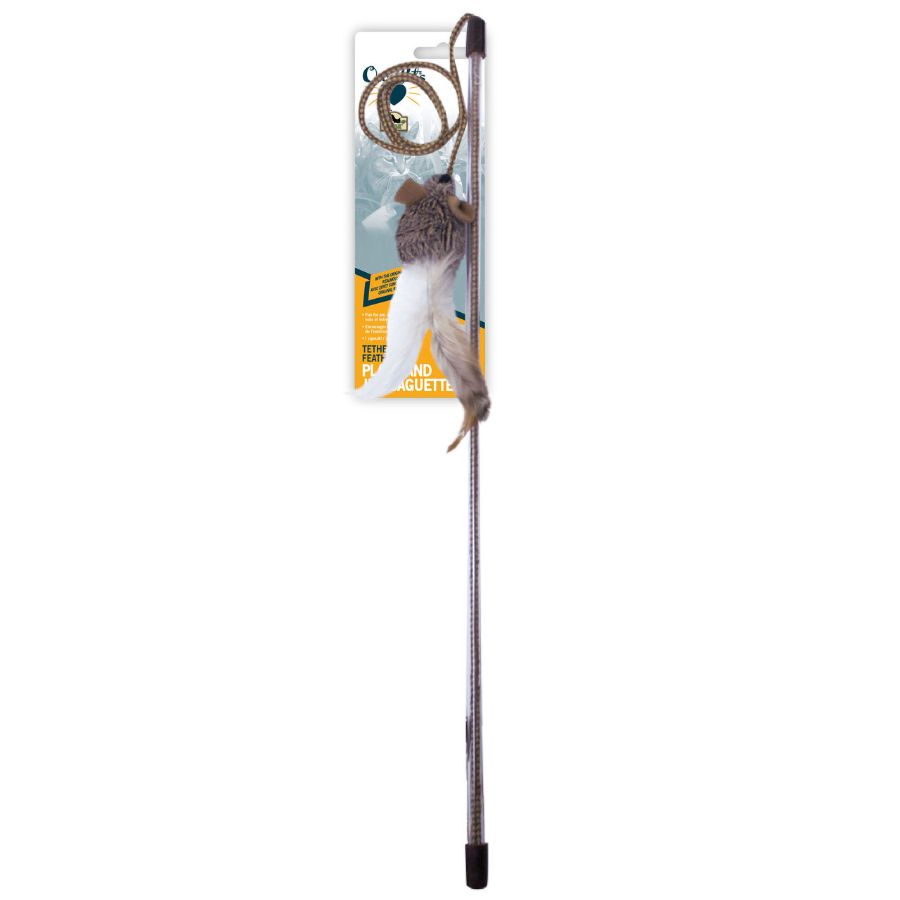 OurPets Play-N-Squeak Tethered and Feathered Cat Wand Toy