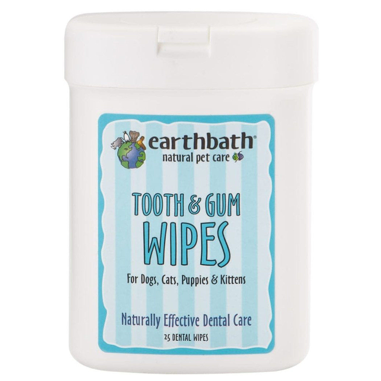 Earthbath Tooth & Gum Wipes for Dogs, Cats, Puppies, and Kittens