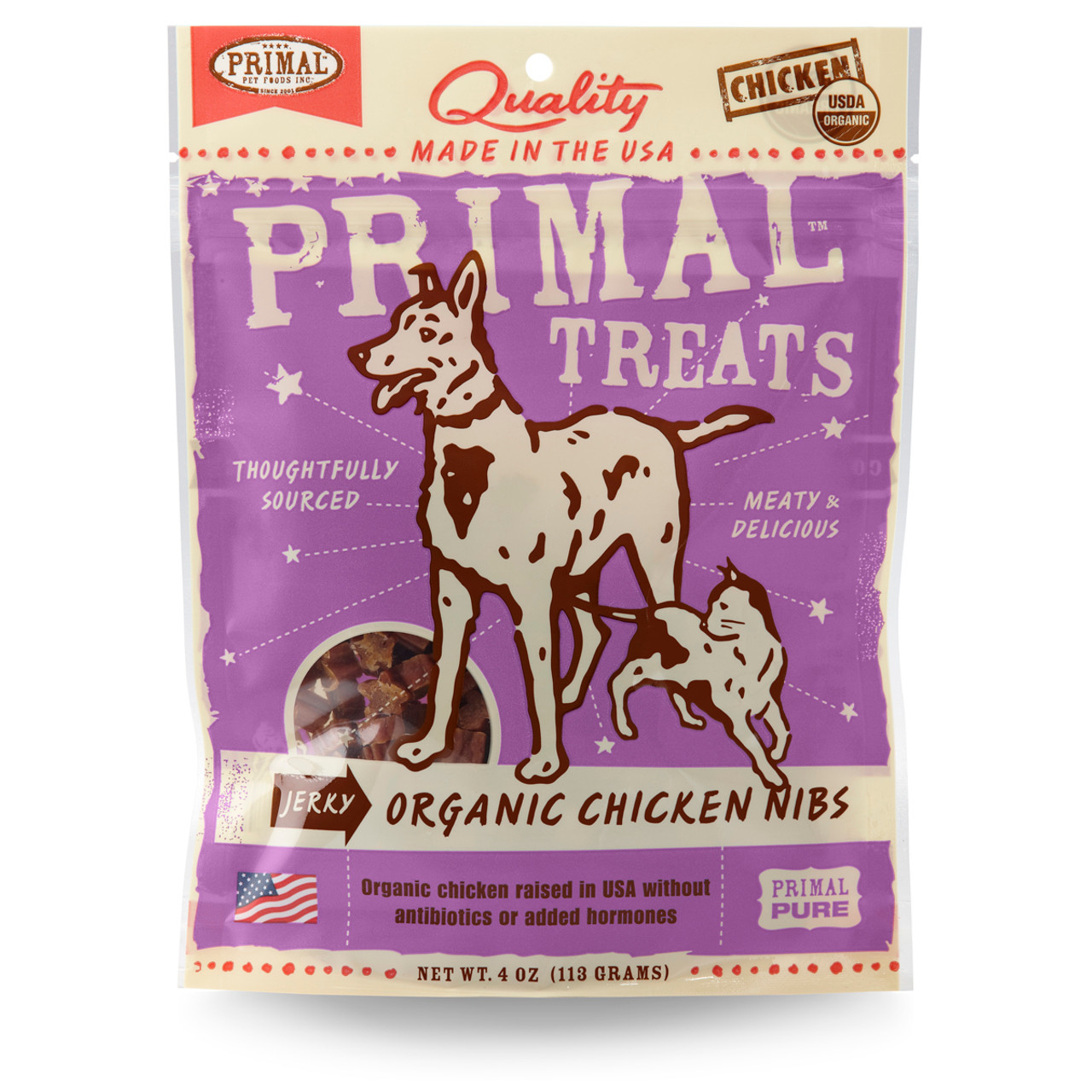 Primal Pet Foods Jerky Organic Chicken Nibs Dog & Cat Treats