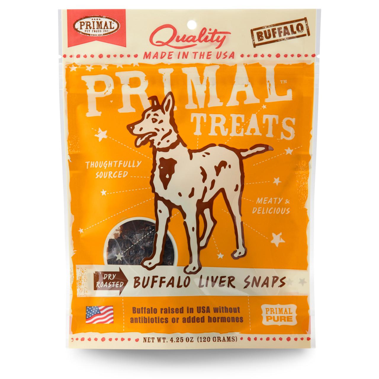 Primal Dry Roasted Buffalo Liver Snaps Dog Treats