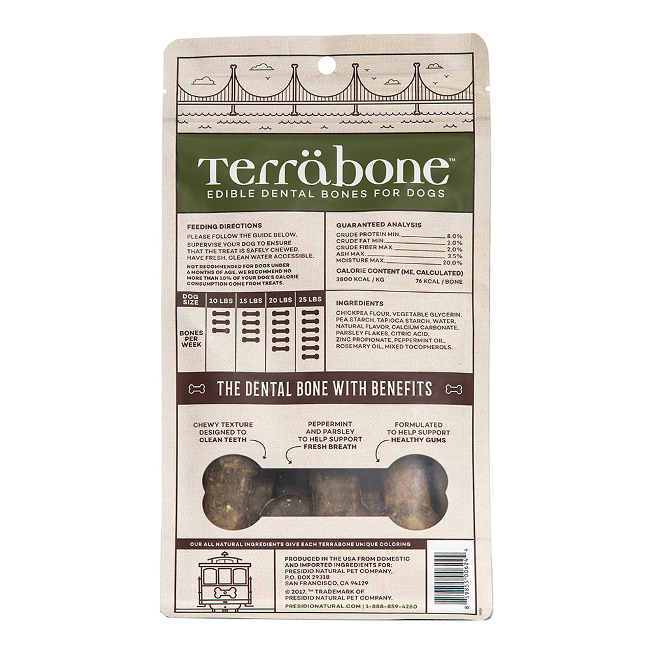Terrabone Functional Fresh Breath Dental Bone Dog Treats