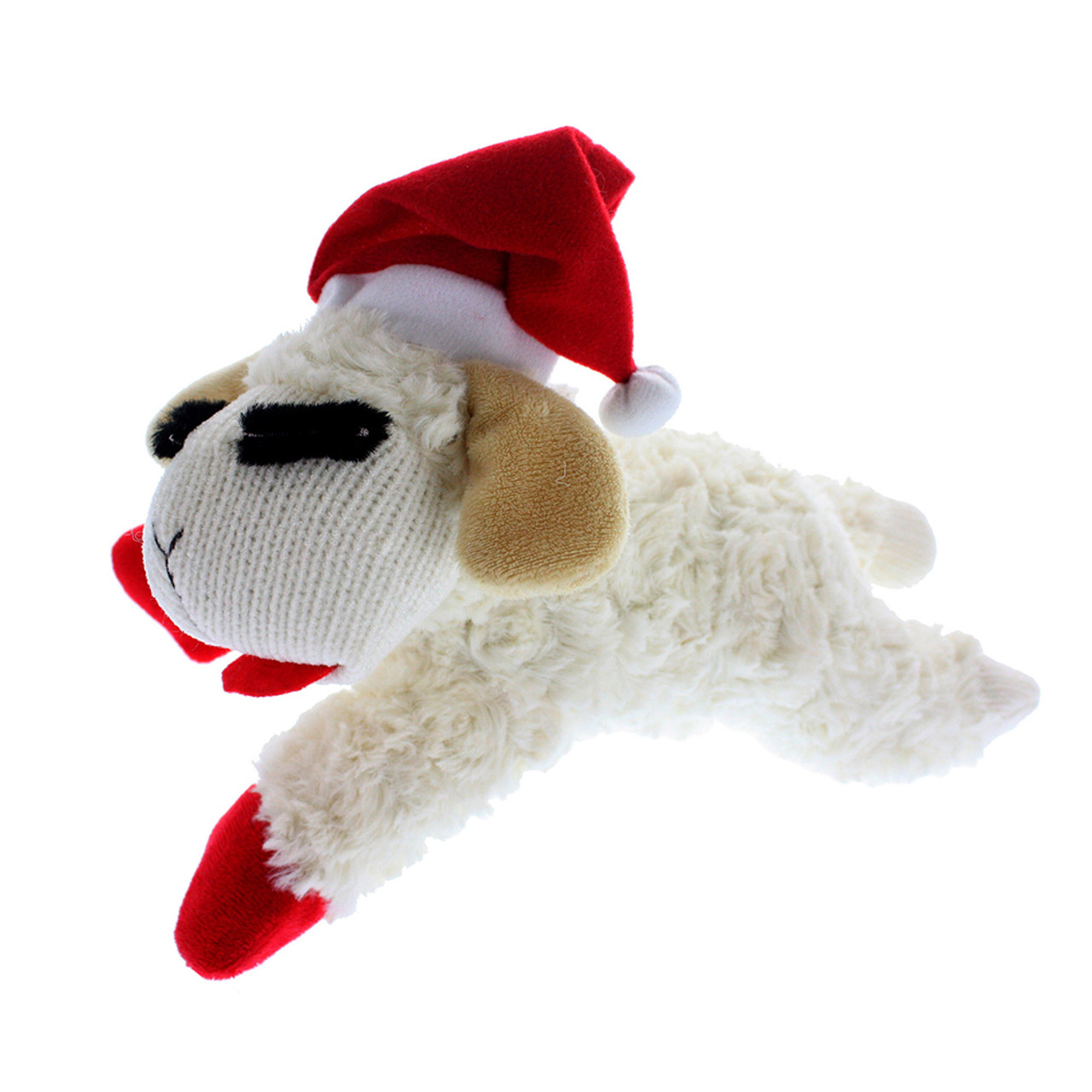 Multipet Mini Holiday Lamb Chop with Santa Hat Plush Dog Toy
