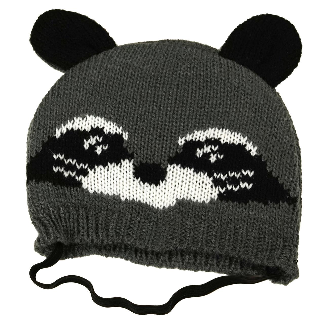 SimplyDog Gray Raccoon Ears Knit Dog Hat