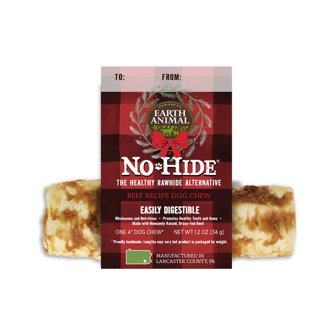 Earth Animal Holiday No-Hide Beef Chews for Dogs