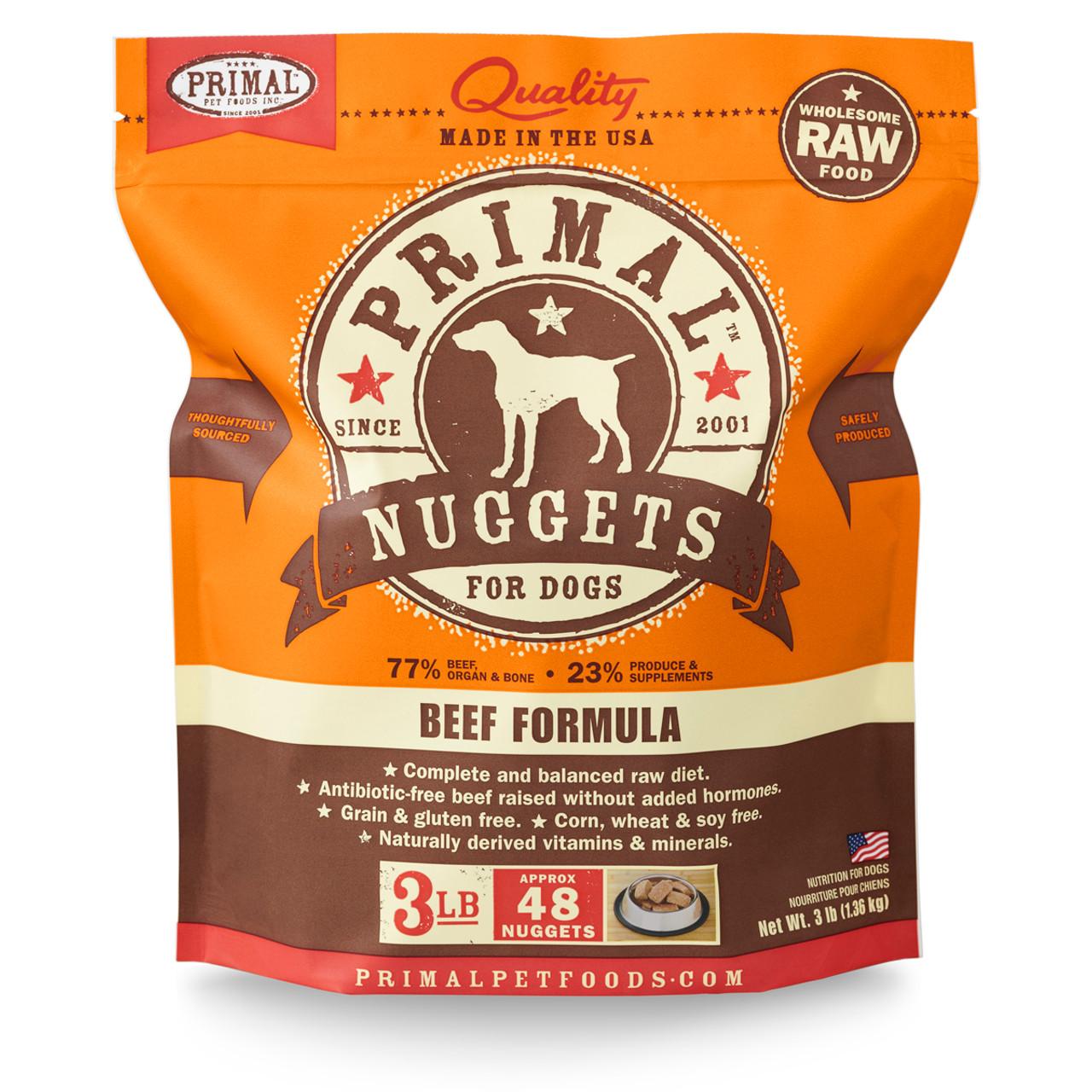 Primal Raw Frozen Canine Nuggets Beef Formula Dog Food