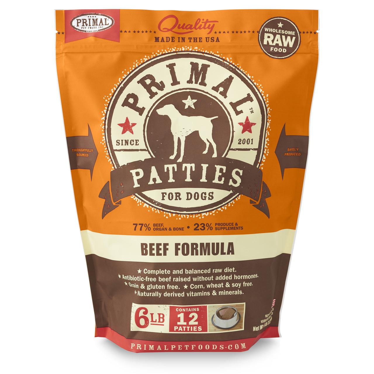 Primal Raw Frozen Canine Patties Beef Formula Dog Food